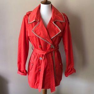 Gorgeous bright orange and tan belted trench coat
